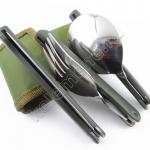 Комплект складных столовых приборов походника: ложка, вилка, нож