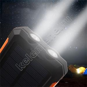 Внешний аккумулятор powerbank водонепроницаемый с солнечными батареями 20 000мАч 5В 2А с фонариком